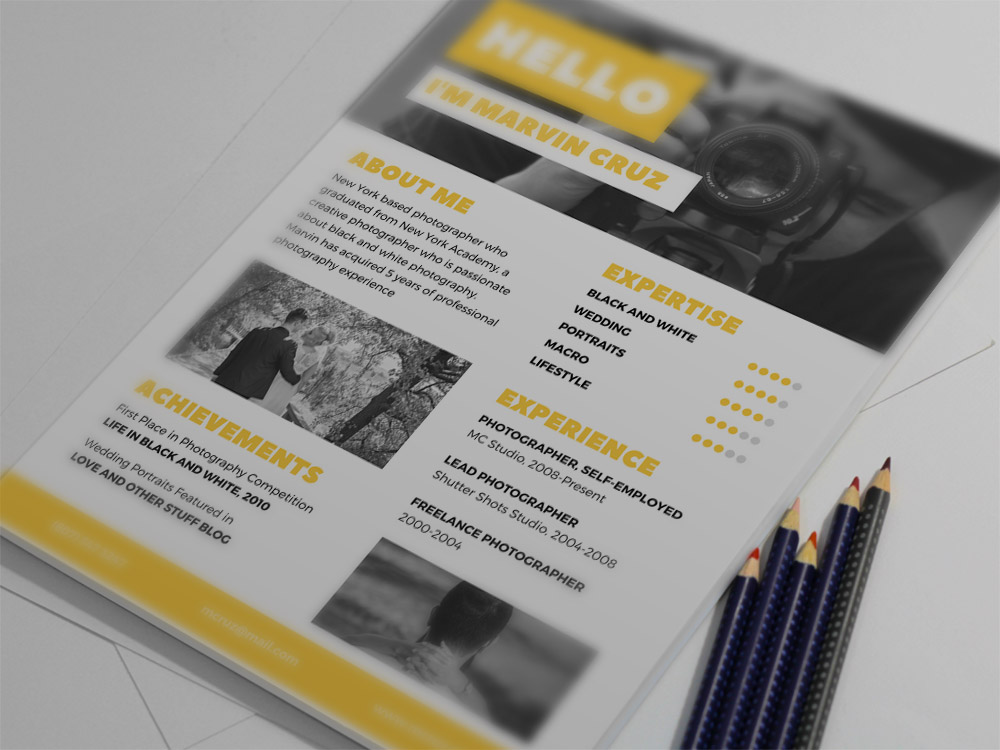free yellow photographer resume template loss prevention associate objective for college Resume Photographer Resume Template Free