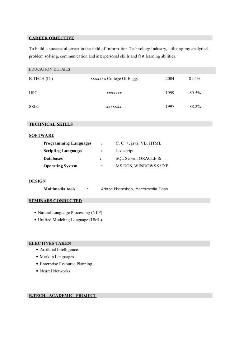 fresher resume sample4 by babasab patil format for multimedia freshers phpapp01 thumbnail Resume Resume Format For Multimedia Freshers