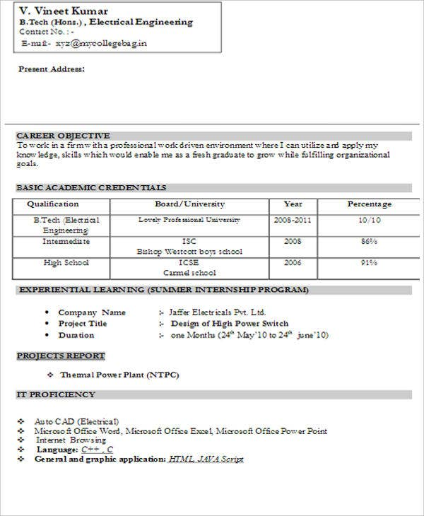 fresher resume templates pdf free premium layout of for freshers electrical engineer Resume Layout Of Resume For Freshers