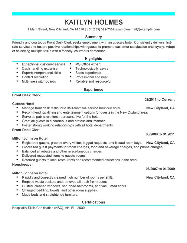 front desk clerk resume examples created by pros myperfectresume hotel and hospitality Resume Hotel Front Desk Resume