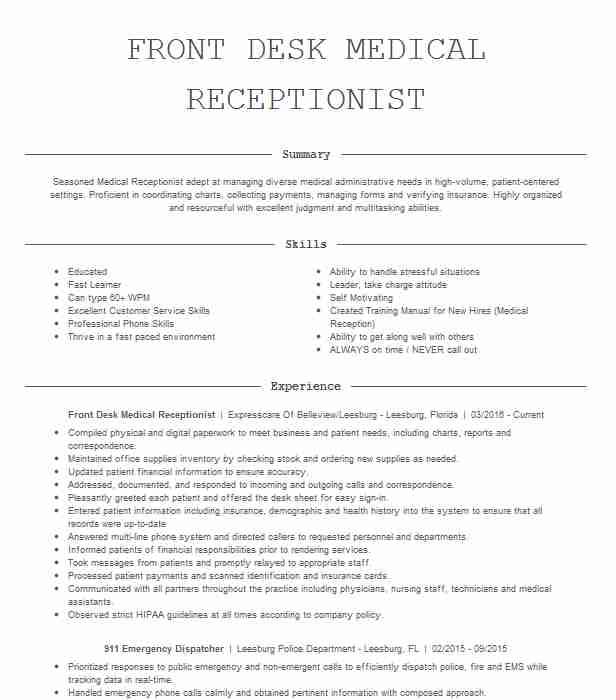 front desk medical receptionist resume example livecareer job free column template place Resume Front Desk Job Resume