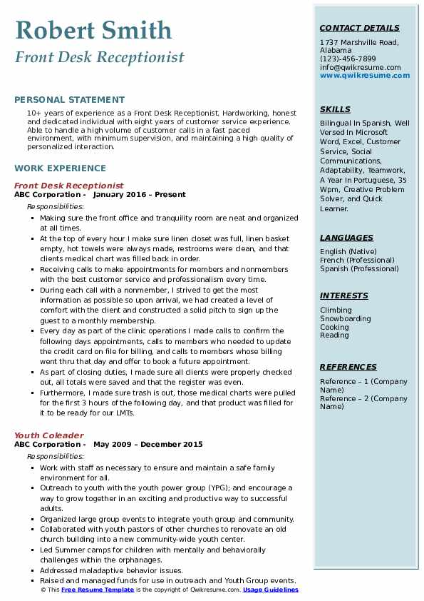 front desk receptionist resume samples qwikresume job pdf guest lecturer intelligence Resume Front Desk Job Resume