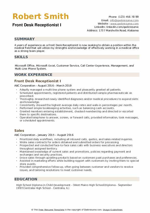front desk receptionist resume samples qwikresume job pdf place objective ideas abap Resume Front Desk Job Resume