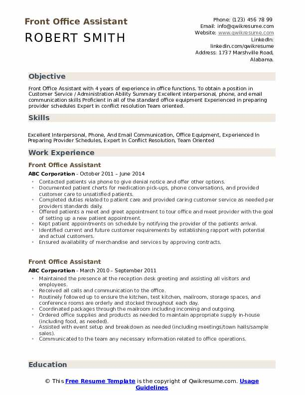 front office assistant resume samples qwikresume medical skills pdf corporate executive Resume Medical Office Assistant Skills Resume