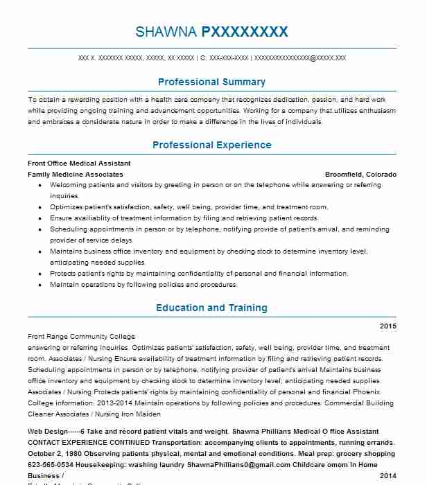 front office medical assistant resume example livecareer desk jewelry manager for fresher Resume Medical Front Desk Resume
