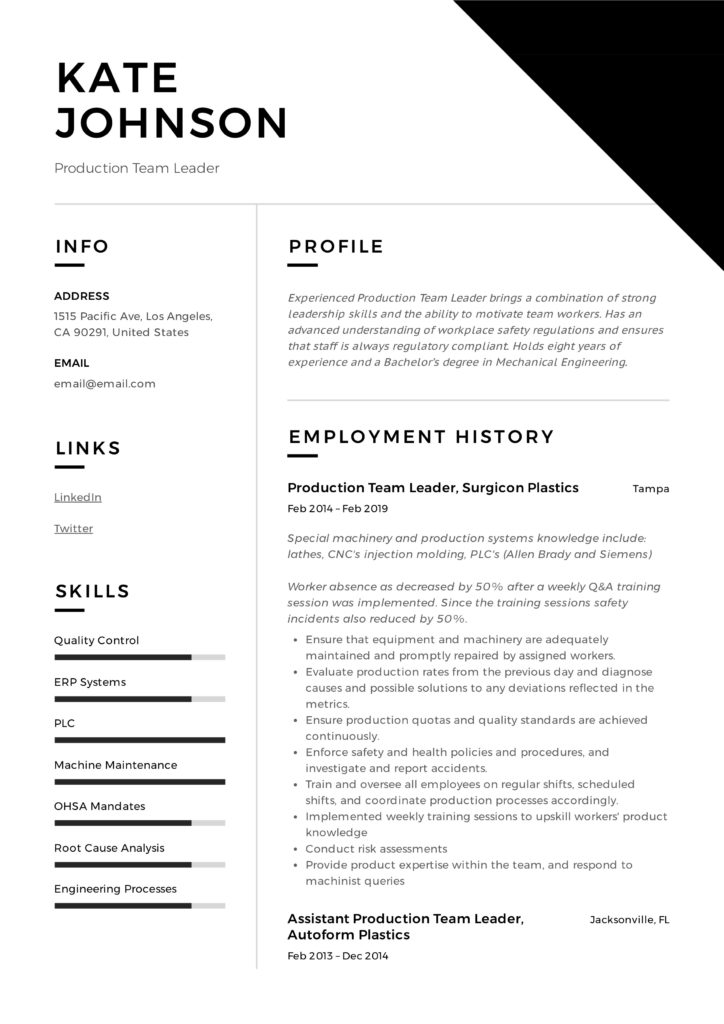 full guide production team leader resume samples pdf examples for 724x1024 objective of Resume Resume Examples For Team Leader