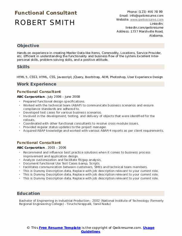 functional consultant resume samples qwikresume oracle pdf nursing cover letter examples Resume Oracle Consultant Resume