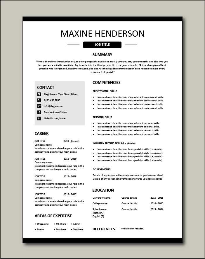 functional cv career achievements template skills based work experience cover letters Resume A Functional Resume Format