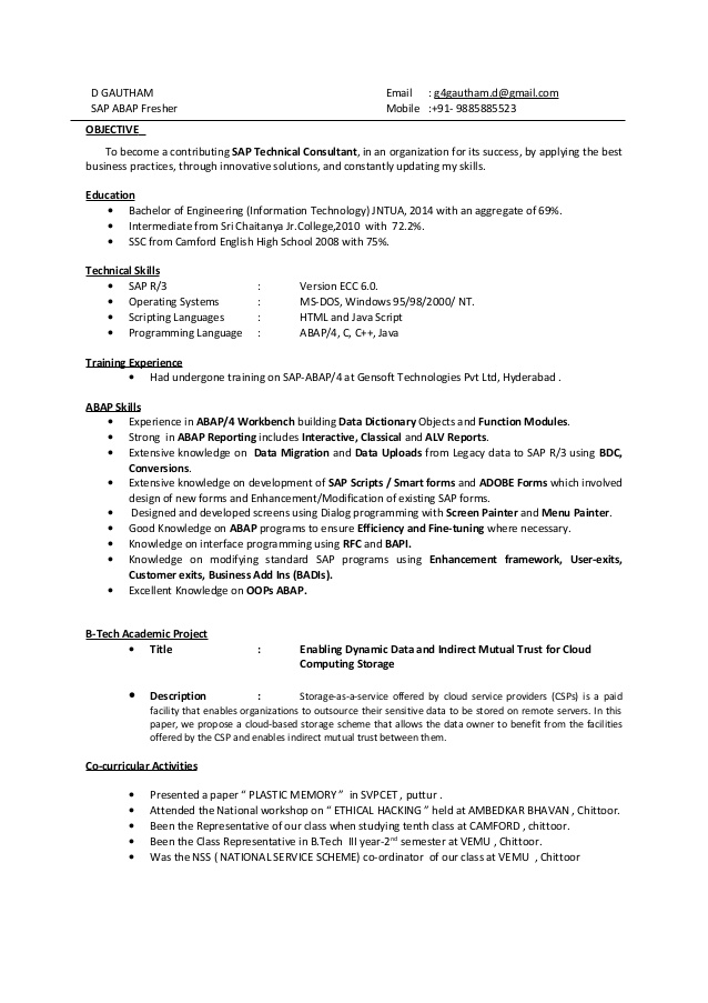 gautham sap abap fresher resume best title examples for freshers human resources Resume Best Resume Title Examples For Freshers