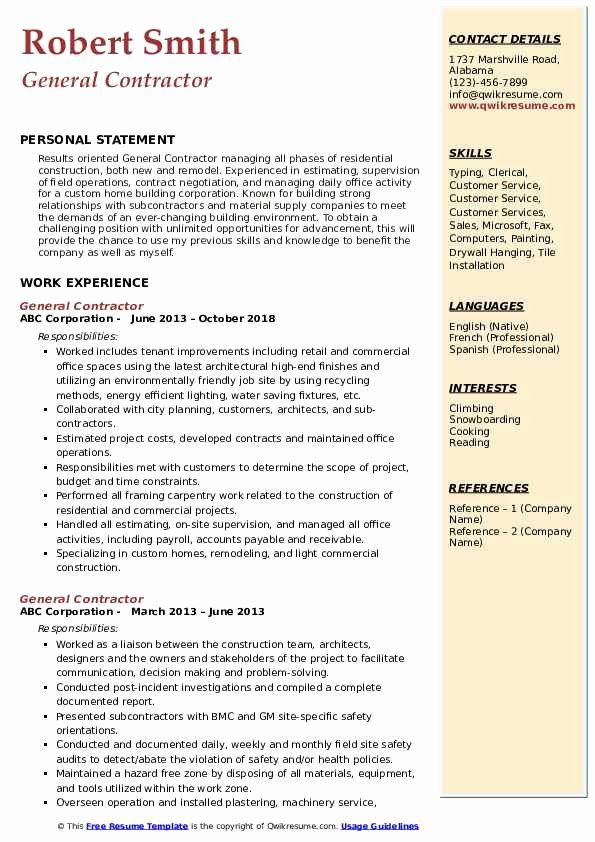general contractor job description resume inspirational samples caregiver jobs Resume Subcontractor Job Description Resume