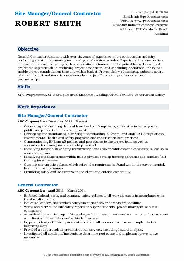 general contractor resume samples qwikresume self employed pdf sample for ojt nanny Resume Self Employed General Contractor Resume
