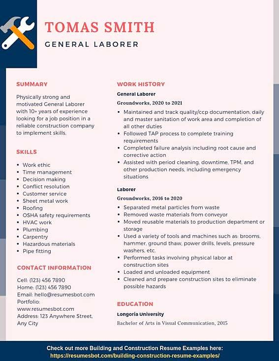 general laborer resume samples templates pdf resumes bot labor examples example entry Resume General Labor Resume Examples