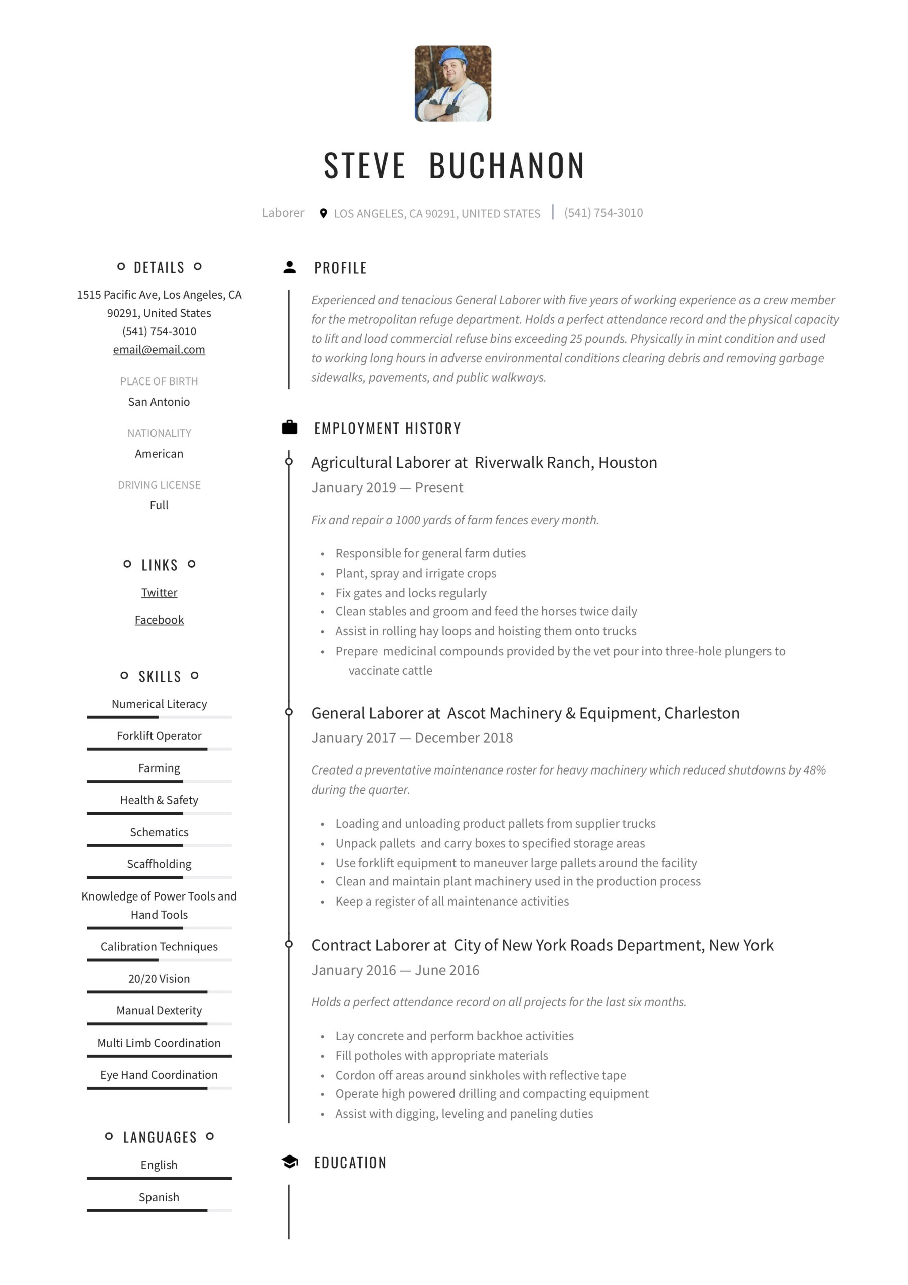 general laborer resume writing guide free templates labor examples construction Resume General Labor Resume Examples