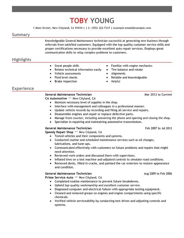 general maintenance technician resume examples free to try today myperfectresume for Resume Resume For Maintenance Position