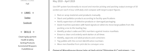 general warehouse worker resume guide templates material handler corey 600x200 web Resume Warehouse Material Handler Resume