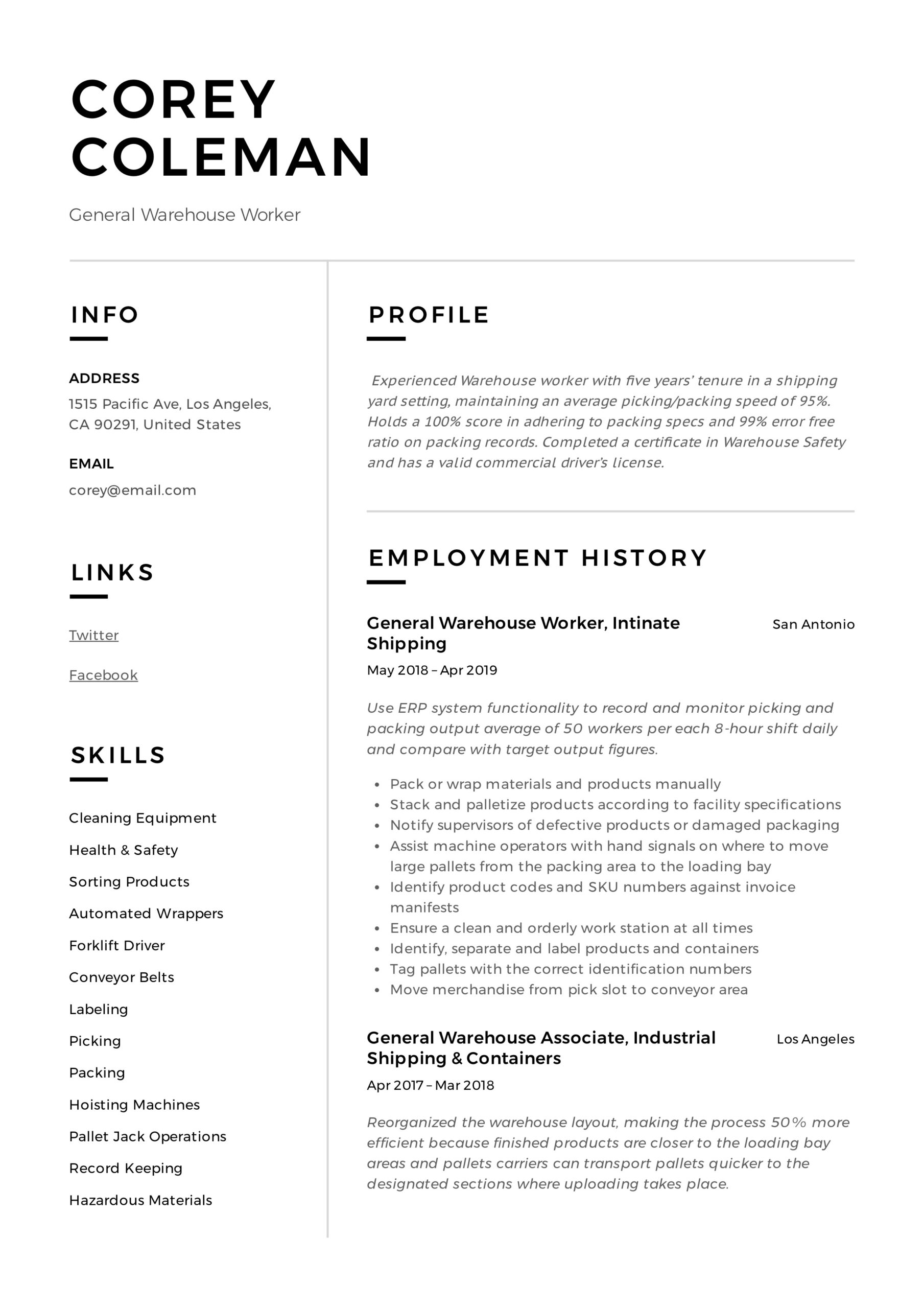 general warehouse worker resume guide templates template corey graphic design examples Resume Warehouse Worker Resume Template