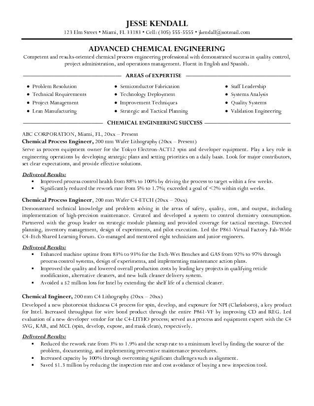 good chemical engineer resume examples professional templates engineering outline Resume Chemical Engineering Resume Template