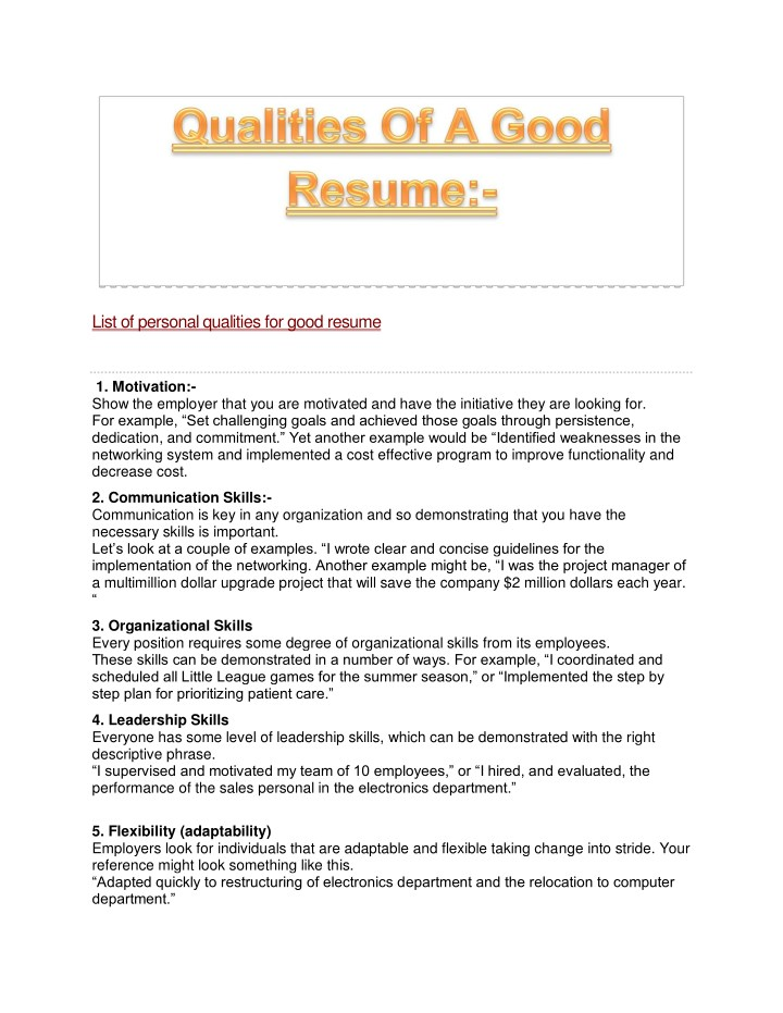 good qualities of resume powerpoint presentation free id for personal cosmetic account Resume Good Qualities For Resume