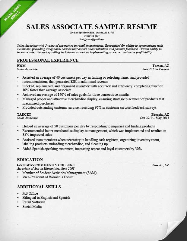 good things to put on resume for associate assignment helps job description tax skills Resume Sales Associate Job Description Resume