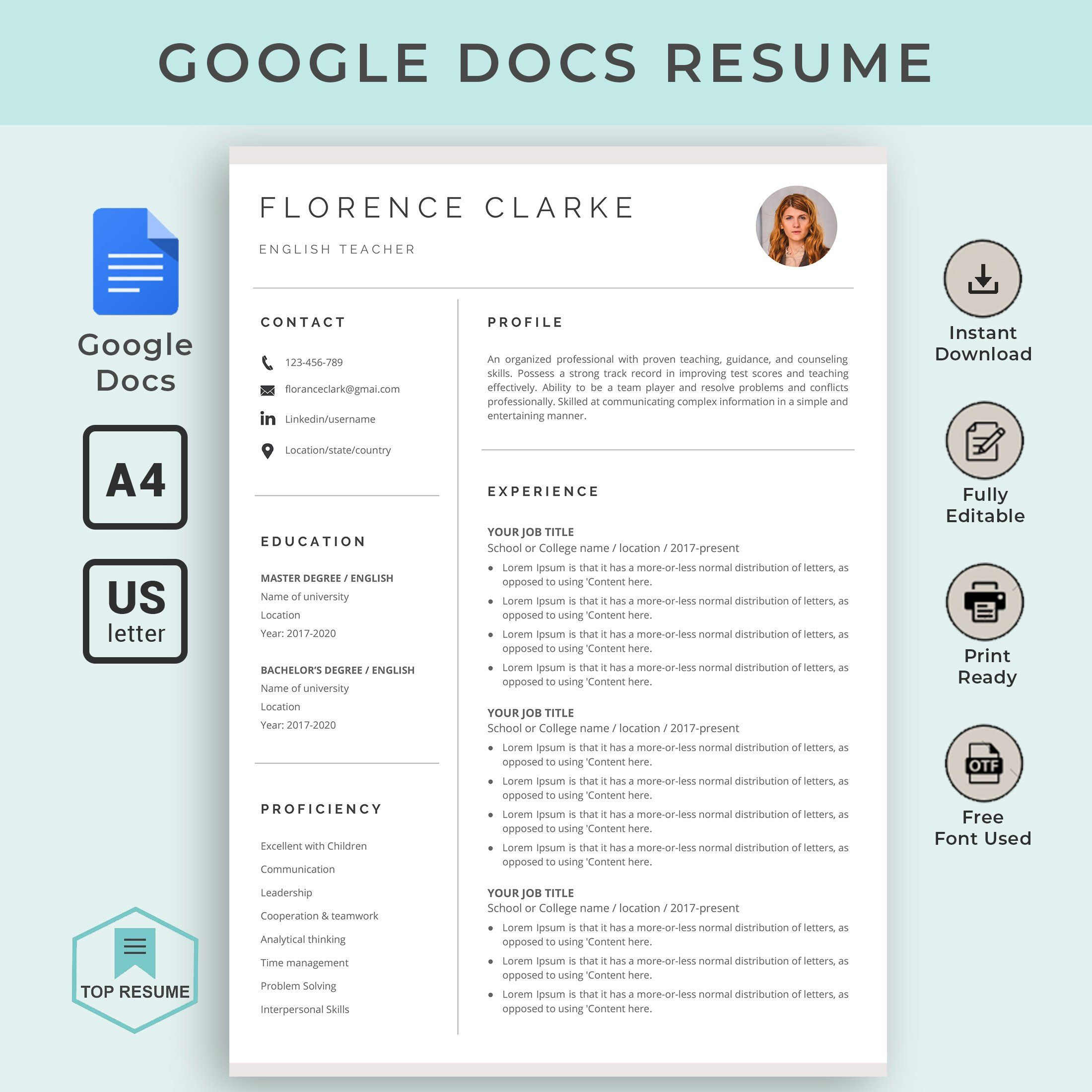 google docs resume template instant downlo downloadable teacher word can you create on Resume Can You Create A Resume On Google Docs