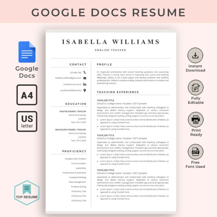 google docs resume template teacher instant cv word free and cover letter examples for Resume Free Resume Template Google Docs Download