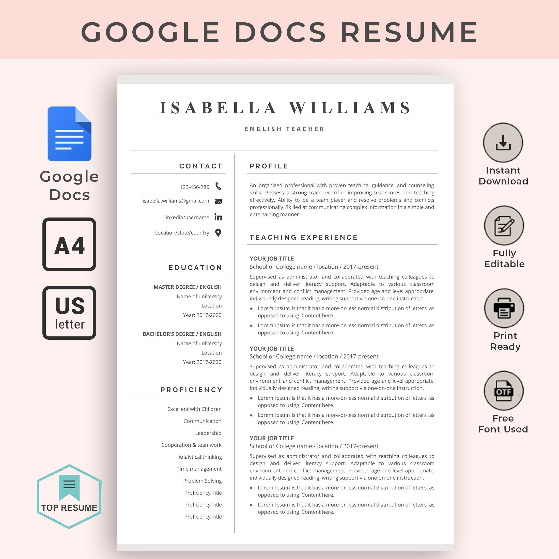google docs resume template teacher instant cv word templates for free best graphic Resume Resume Templates For Google Docs Free
