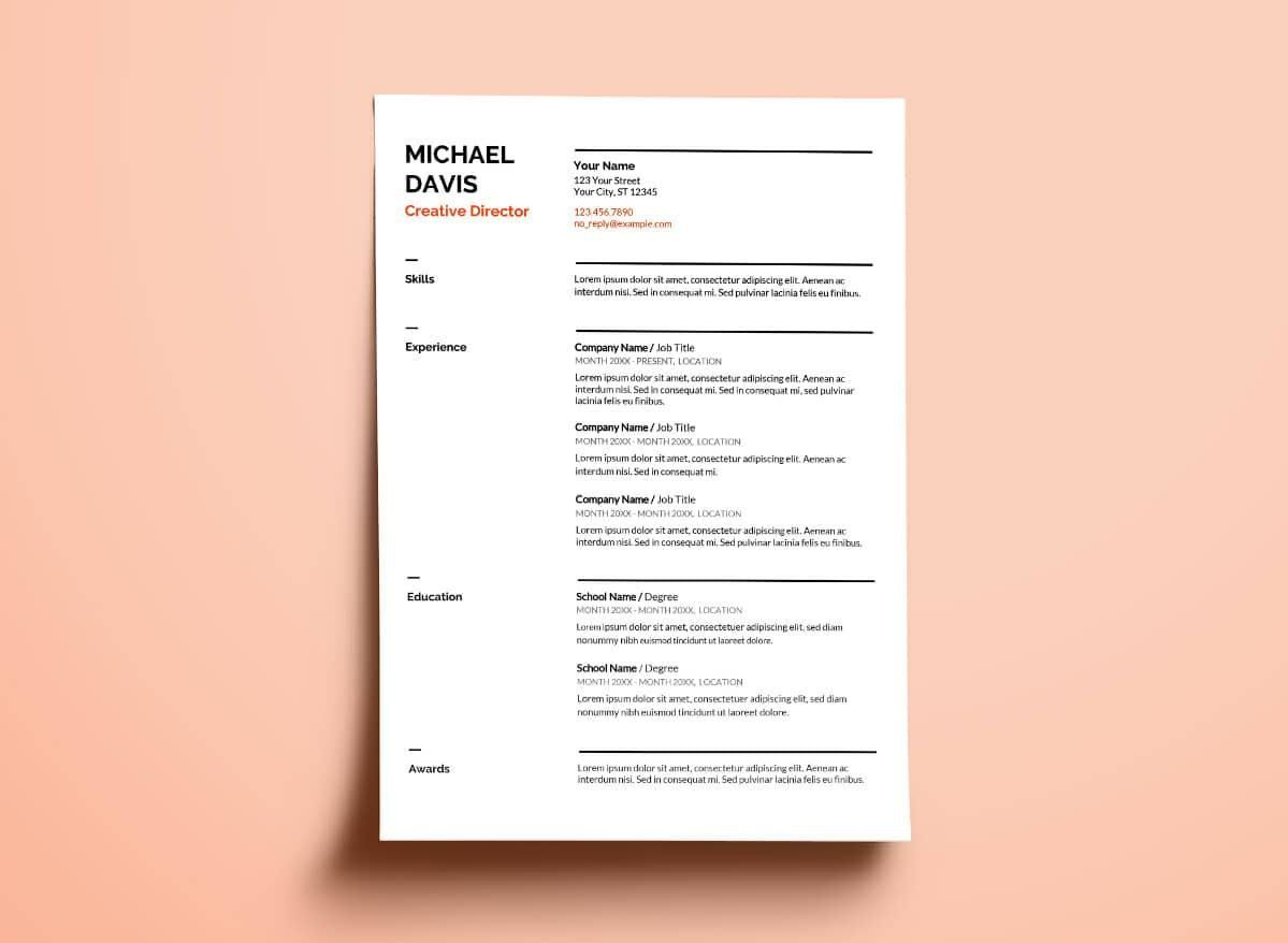 google docs resume template with thick section separators free downloadable professional Resume Google Drive Resume Template Free