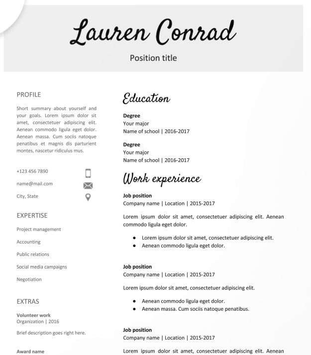 google docs resume templates downloadable pdfs teacher template free job professional Resume Job Resume Template Google Docs