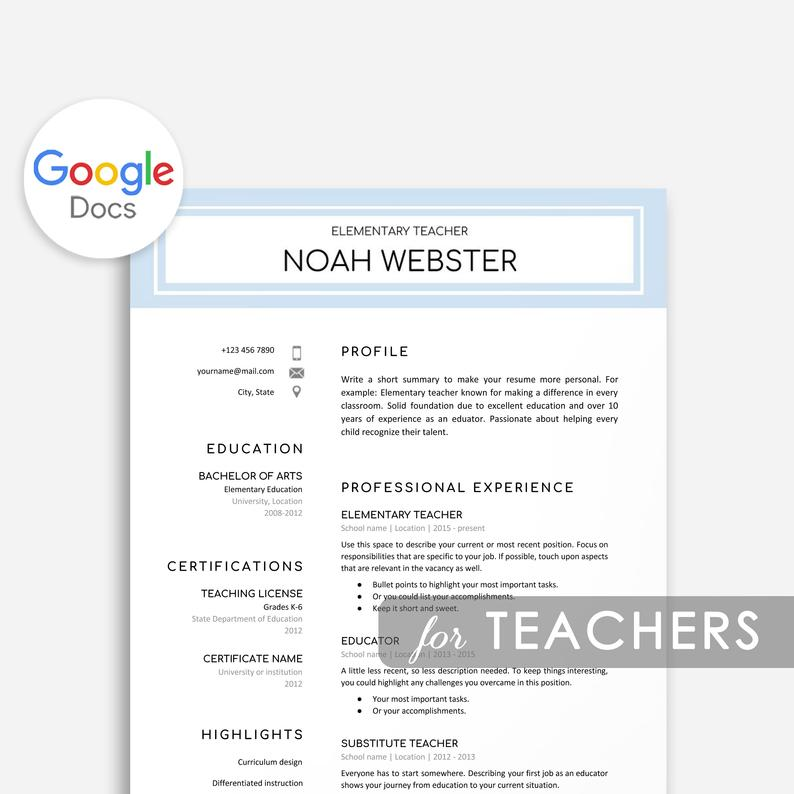 google docs resume templates now create with teacher template skills for executive Resume Create Resume With Google Docs