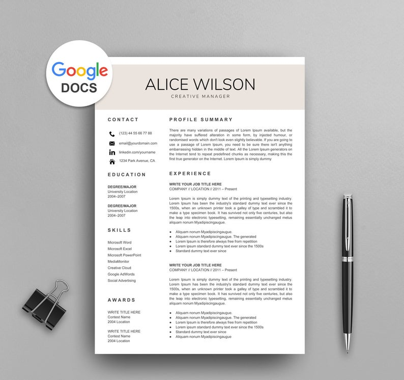 google docs resume templates now documents creative template work from home skills Resume Google Documents Resume Templates