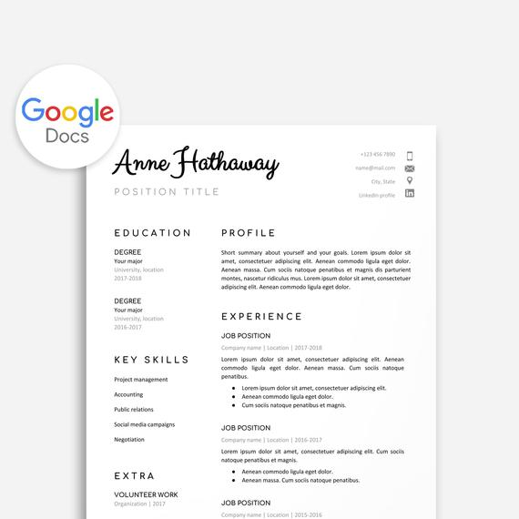 google resume template etsy swiss docs il 570xn njsi jade verb words format for years Resume Swiss Resume Template Google Docs