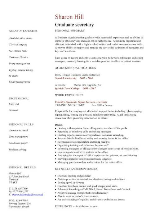 graduate secretary cv sample resume skills pic most effective format simple examples for Resume Secretary Resume Skills