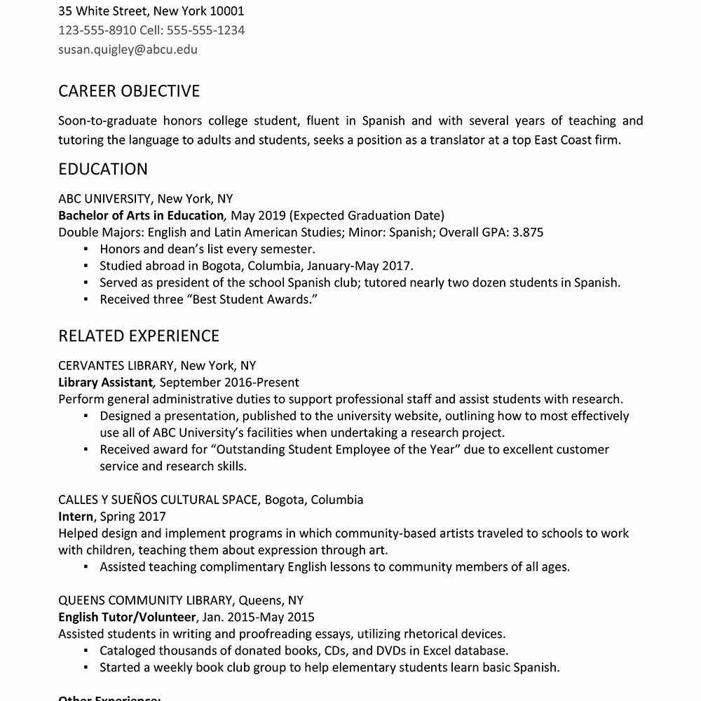 graduate with honors resume inspirational college example and writing student template Resume Graduated With Honors Resume