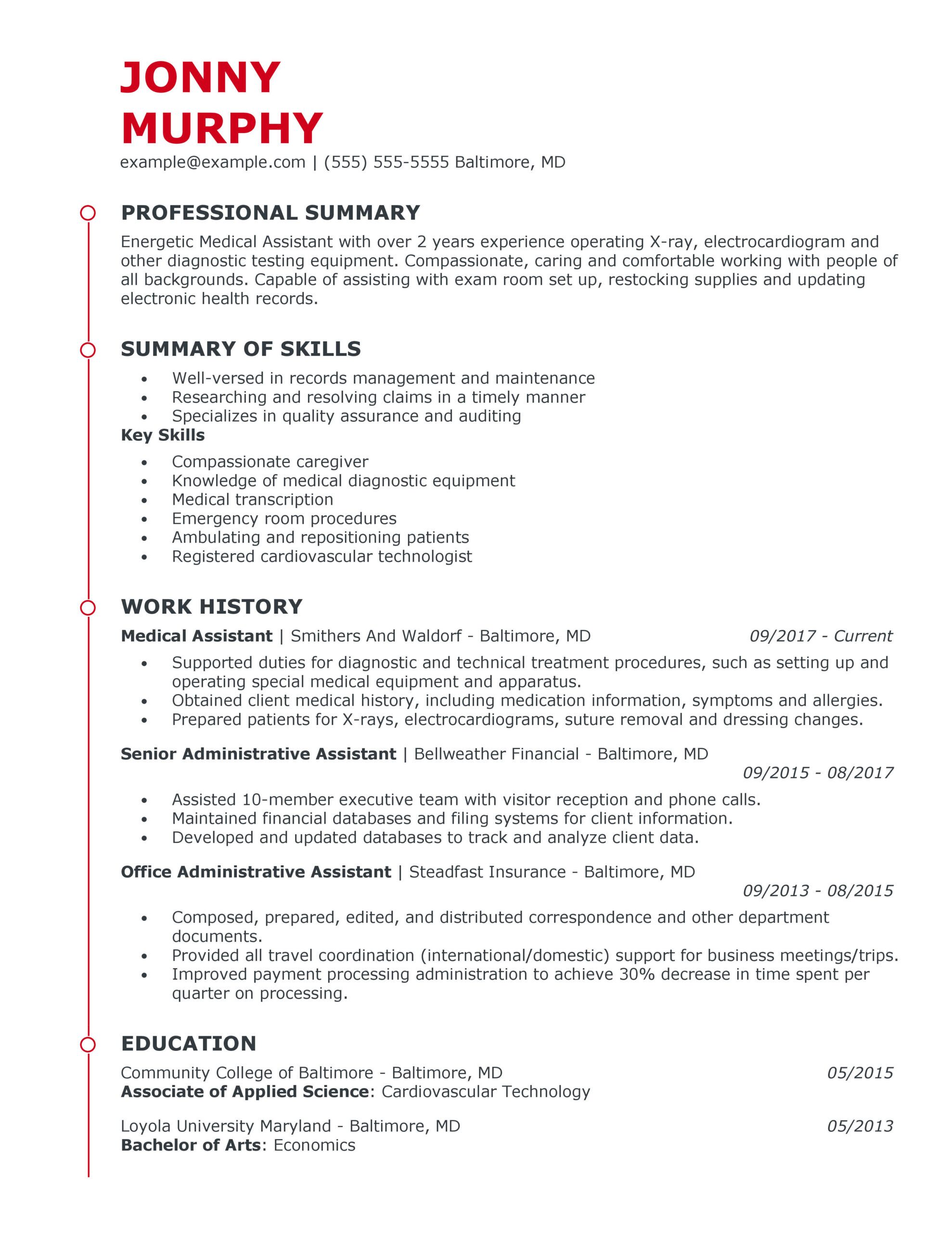 great healthcare support resume examples for myperfectresume summary medical assistant Resume Healthcare Summary For Resume