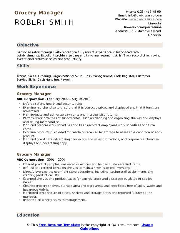 grocery manager resume samples qwikresume for store job pdf subject line writing services Resume Resume For Grocery Store Job