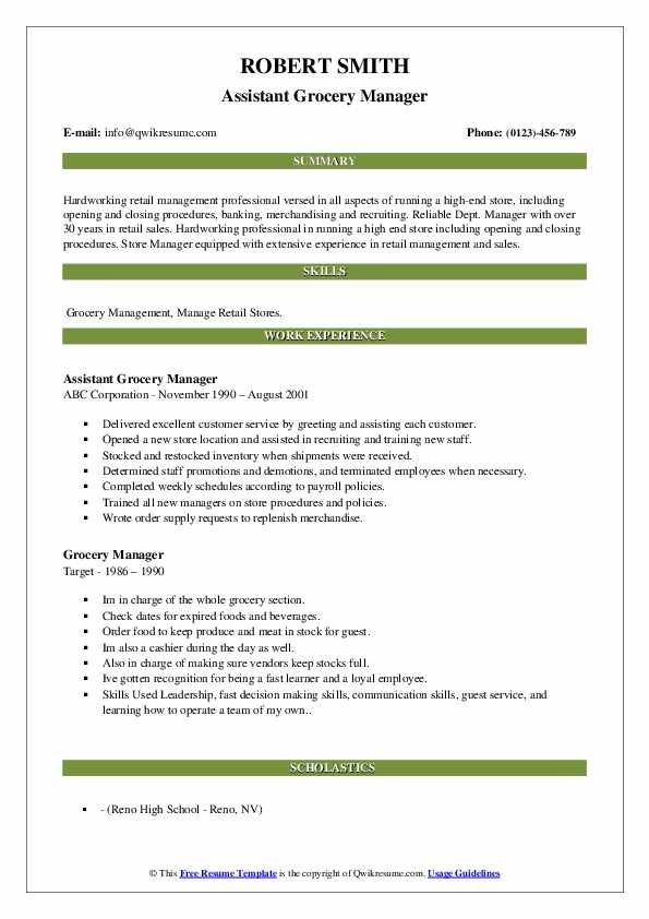 grocery manager resume samples qwikresume store pdf central supply technician sample Resume Grocery Store Manager Resume