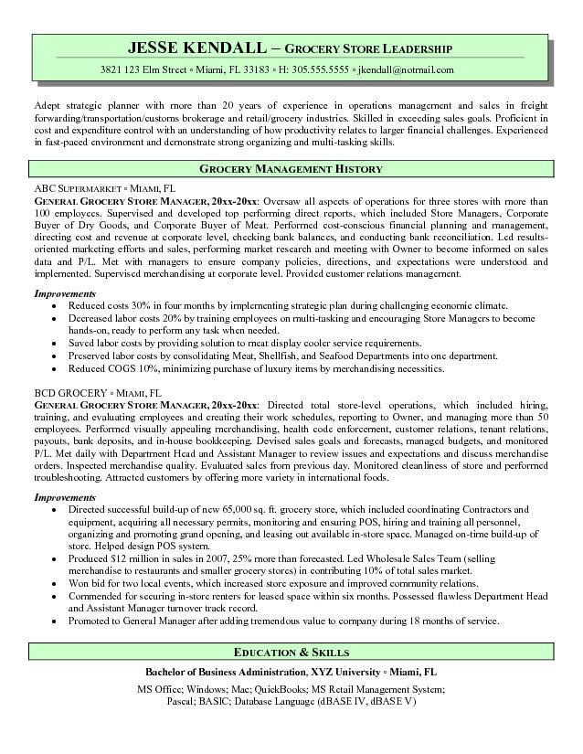grocery store manager resume for job sap fico with years experience australian style Resume Resume For Grocery Store Job