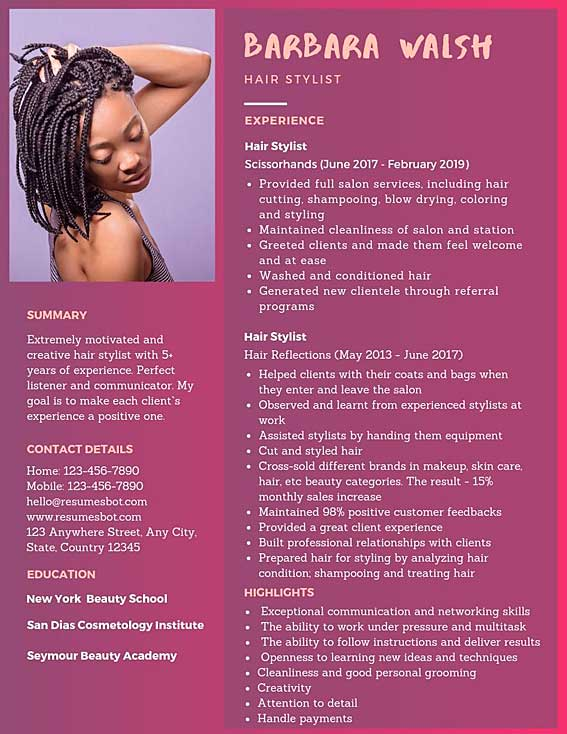 hairstylist resume samples templates pdf word resumes bot hair stylist example free and Resume Hair Stylist Resume Example