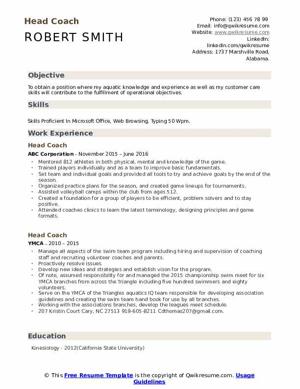 head coach resume samples qwikresume cricket player format pdf nurse aide examples name Resume Cricket Player Resume Format