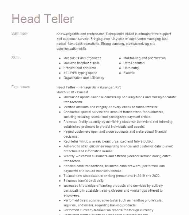 head resume example banking resumes livecareer professional medical assistant student Resume Professional Teller Resume