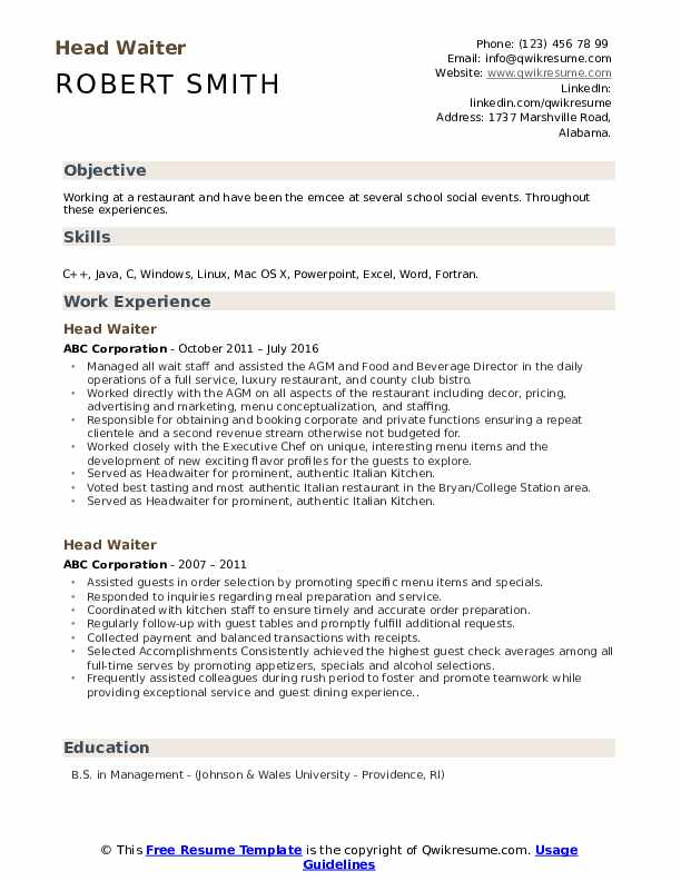 head waiter resume samples qwikresume hospitality waitress pdf software perfect examples Resume Hospitality Resume Waitress