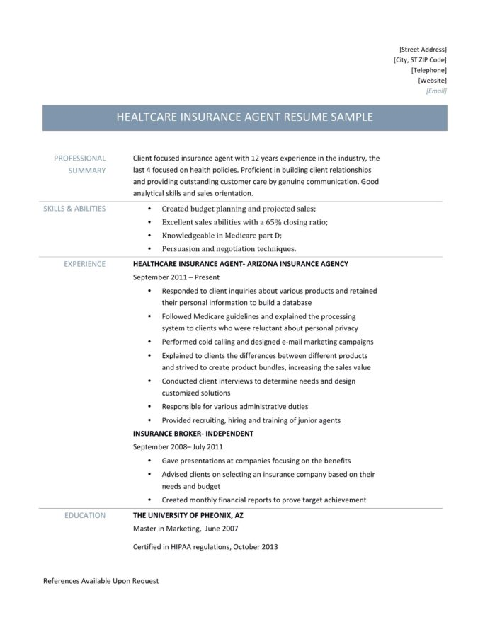 health insurance agent resume samples and job description by builders medium format for Resume Resume Format For Healthcare Jobs