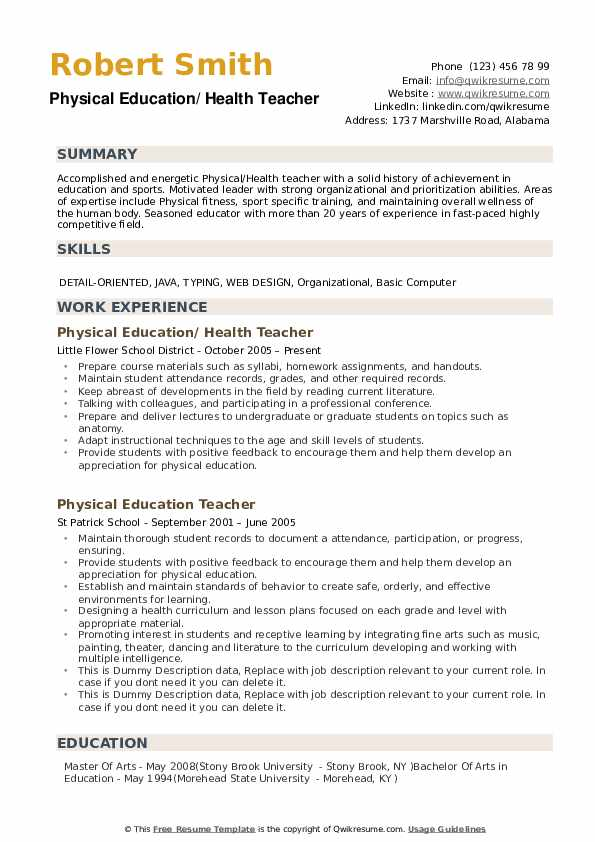 health teacher resume samples qwikresume achievements of pdf show promotion on personal Resume Achievements Of A Teacher Resume