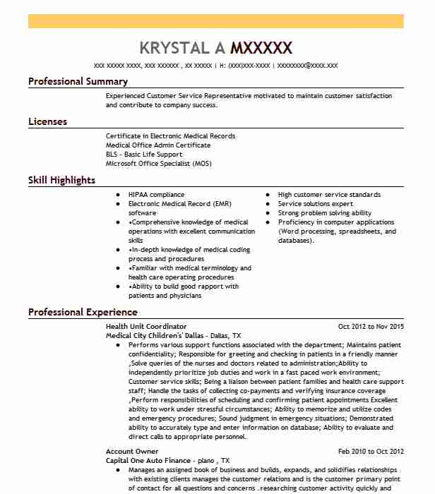 health unit coordinator resume example resumes misc livecareer patient excel vba on error Resume Patient Coordinator Resume