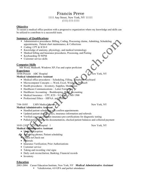 healthcare administrative assistant resume sample medical examples on canva obama Resume Healthcare Administration Resume Examples