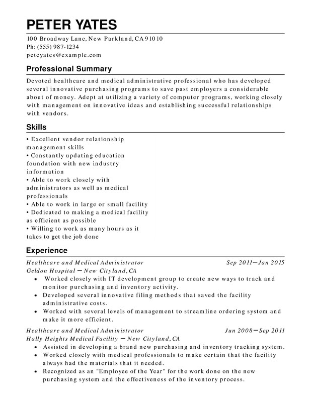 healthcare medical chronological resume samples examples format templates help skills Resume Healthcare Resume Skills