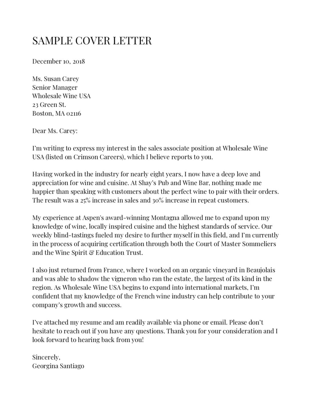 here an example of the perfect cover letter according to harvard career experts for Resume Perfect Resume Cover Letter