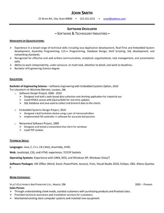 hey software developers looking to get some experience while you re still in school our Resume Sample Software Engineer Resume