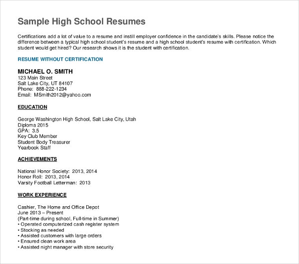 high school graduate resume templates pdf free premium sample for example medical tips Resume Sample Resume For High School Graduate