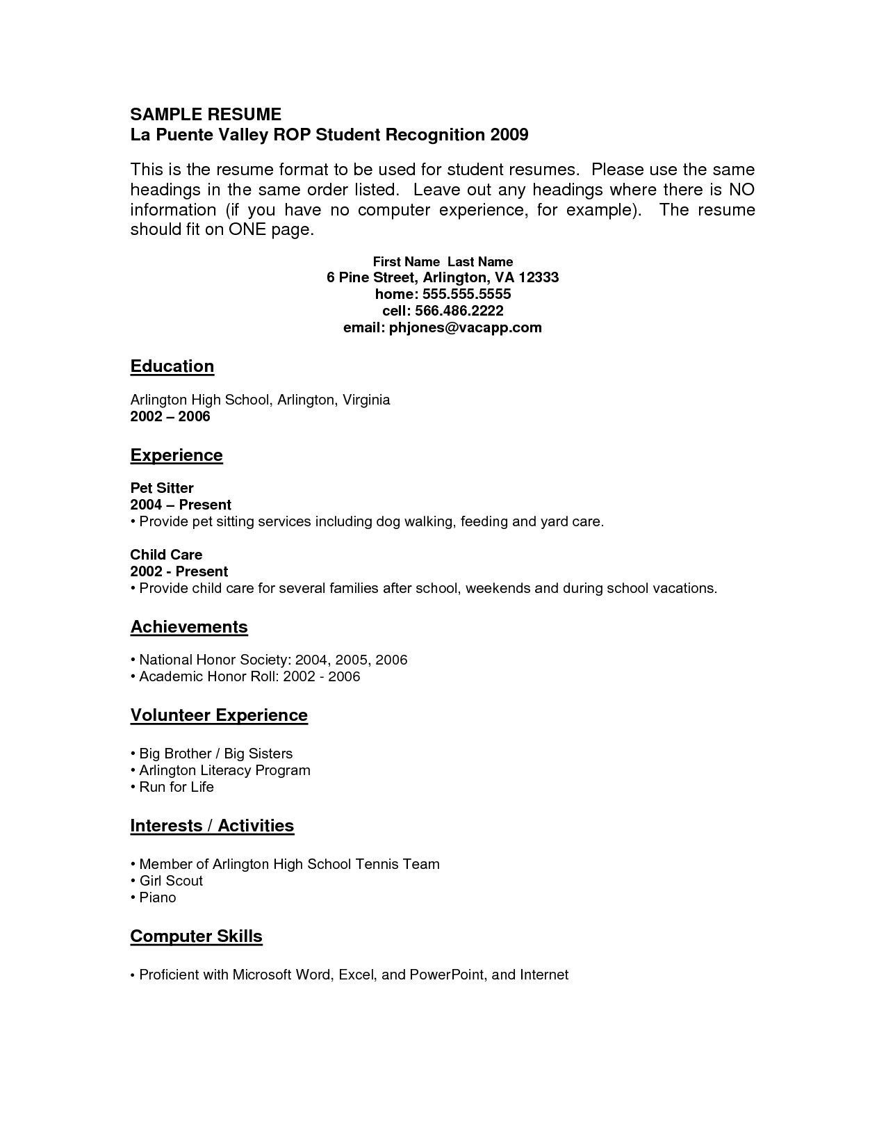 high school student resume no work experience format data encoder duties and Resume Resume Format No Work Experience